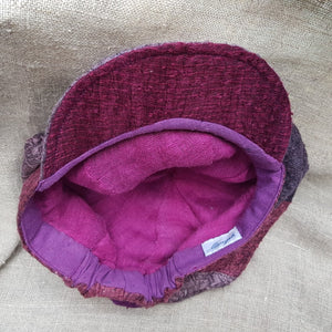 silk and linen hat PINKS AND PURPLES