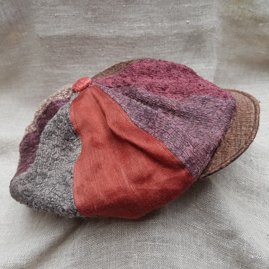 silk and linen hat MANGO AND BURGUNDY