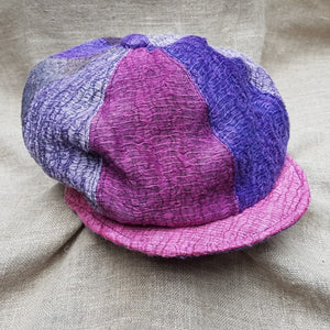 silk and linen hat CARNIVAL AND LAVENDER PINK