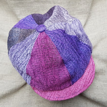 Load image into Gallery viewer, silk and linen hat CARNIVAL AND LAVENDER PINK