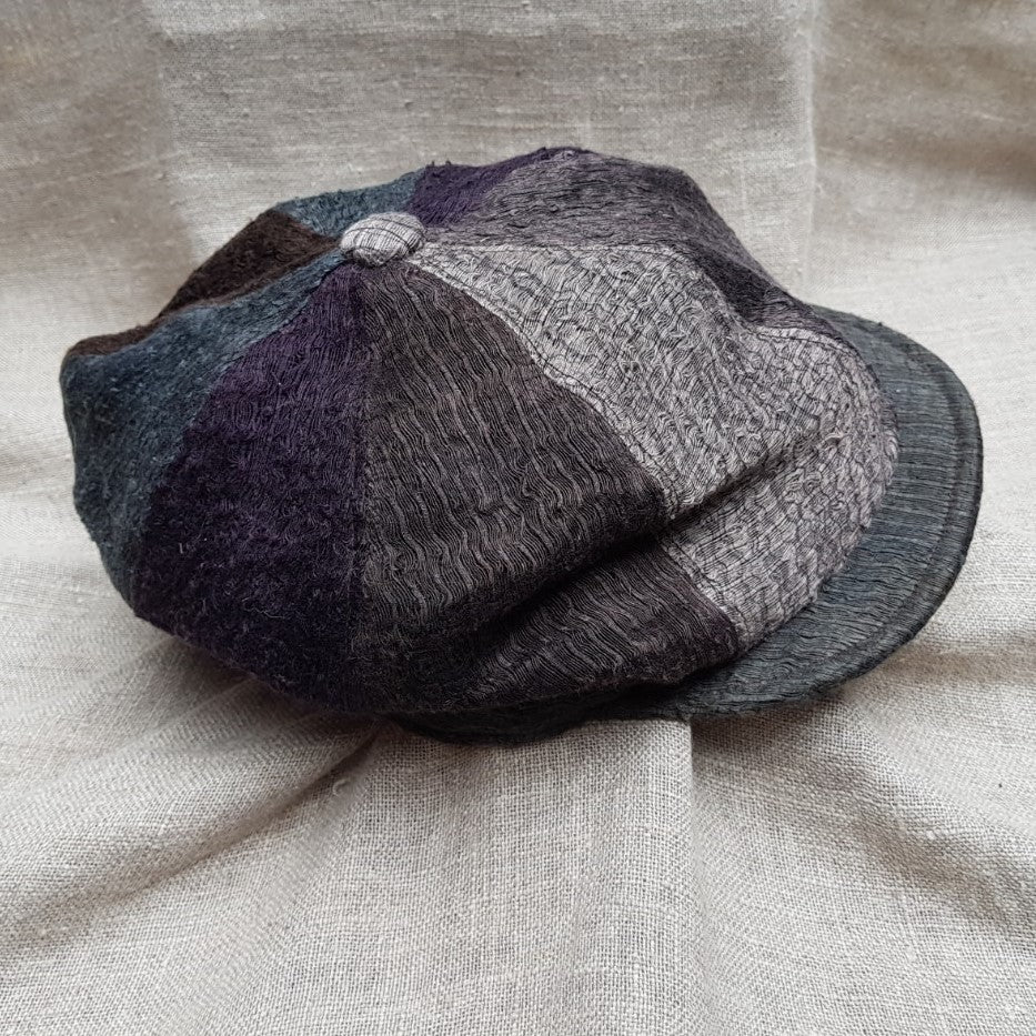 Charcoal & Purple silk and linen hat