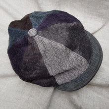 Load image into Gallery viewer, Charcoal & Purple silk and linen hat