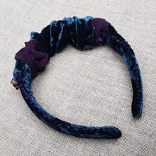 Load image into Gallery viewer, Aegean and sangria velvet devoré hairband