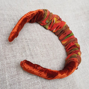 Autumn leaves velvet and linen hairband
