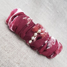 Load image into Gallery viewer, Carmine and hibiscus velvet and devoré hairband