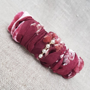 Carmine and hibiscus velvet and devoré hairband