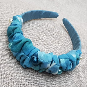 Malibu and aqua silk crepe de Chine hairband
