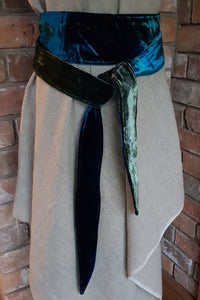 Ocean Blues and Turquoise Velvet Sash