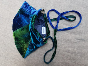 Midnight Blue & Forest Green Velvet bag