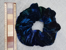 Load image into Gallery viewer, Sapphire & gentian velvet scrunchie