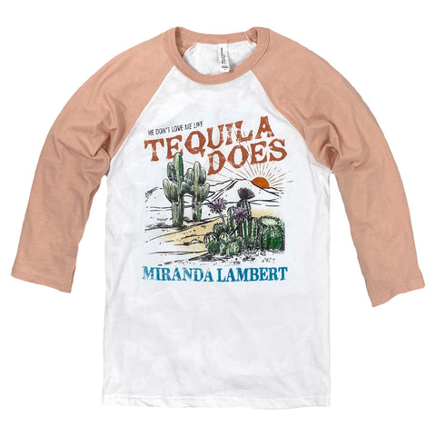 """He don't love me like tequila does, Miranda Lambert"" with desert sunset scene on front"