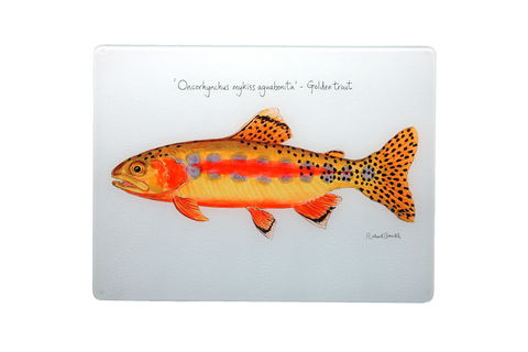 Golden Trout Glass Chopping Board