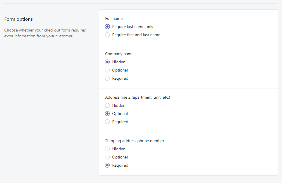 shopify settings customer form options_dropshipping