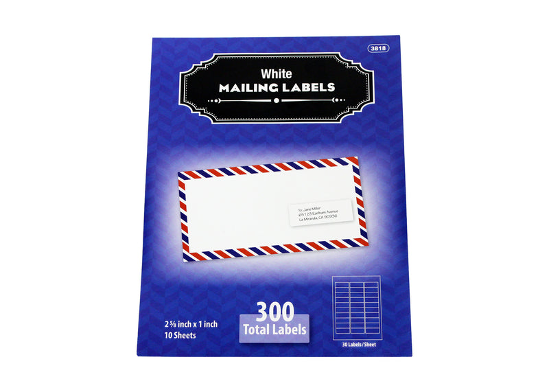 White Mailing Labels 300 Labels 10 Sheets