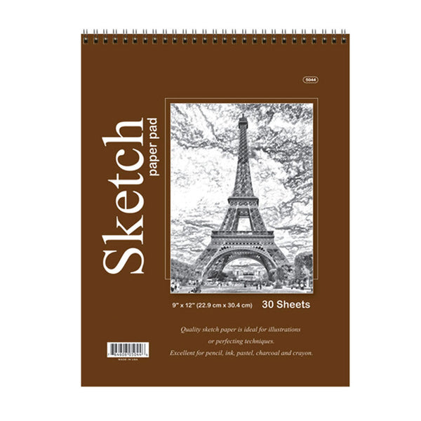 9 Inch by 12 Inch Sketch Paper Pad Sold in Bulk for School Supplies