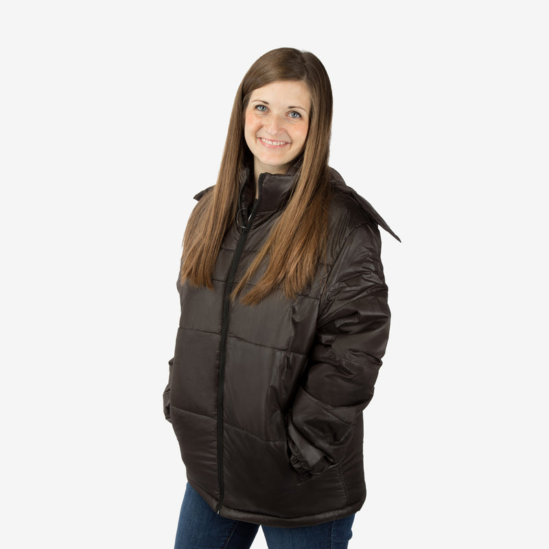 Classic Combo Wholesale Adult Winter Coat in Black Sold in Bulk