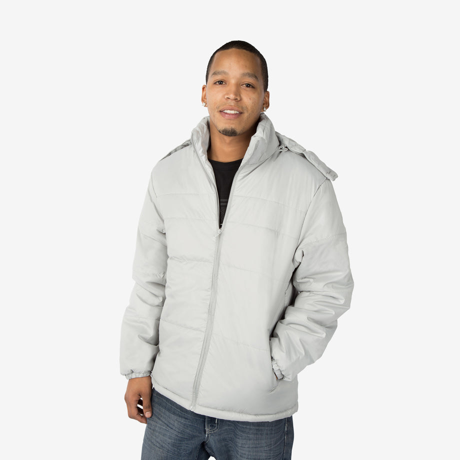 Classic Combo Wholesale Adult Winter Coat in Gray Sold in Bulk