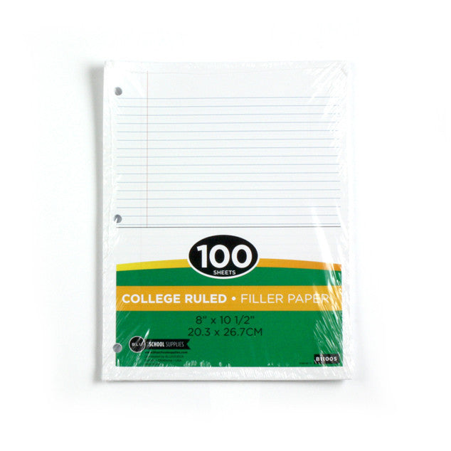 Loose Leaf College Ruled Filler Paper Sold in Bulk for School Supplies