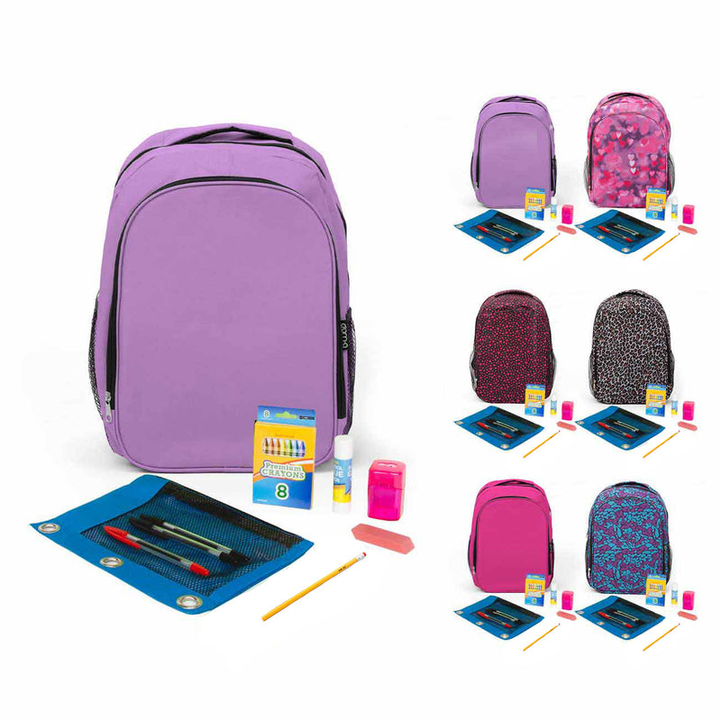 Rose Color Combo for School Supply Kit Within Backpack