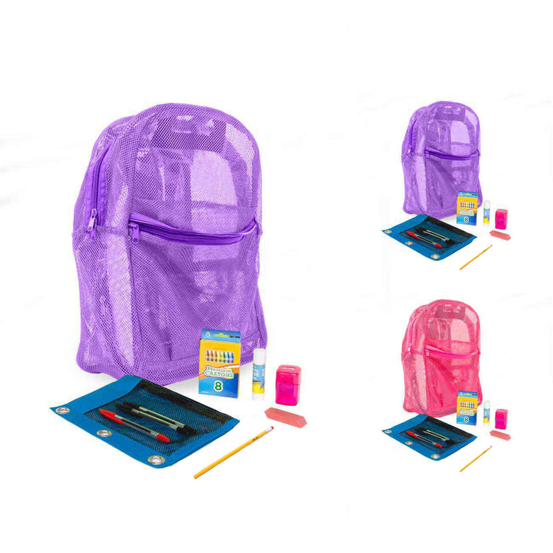 School Supply Kit in Mesh Backpack