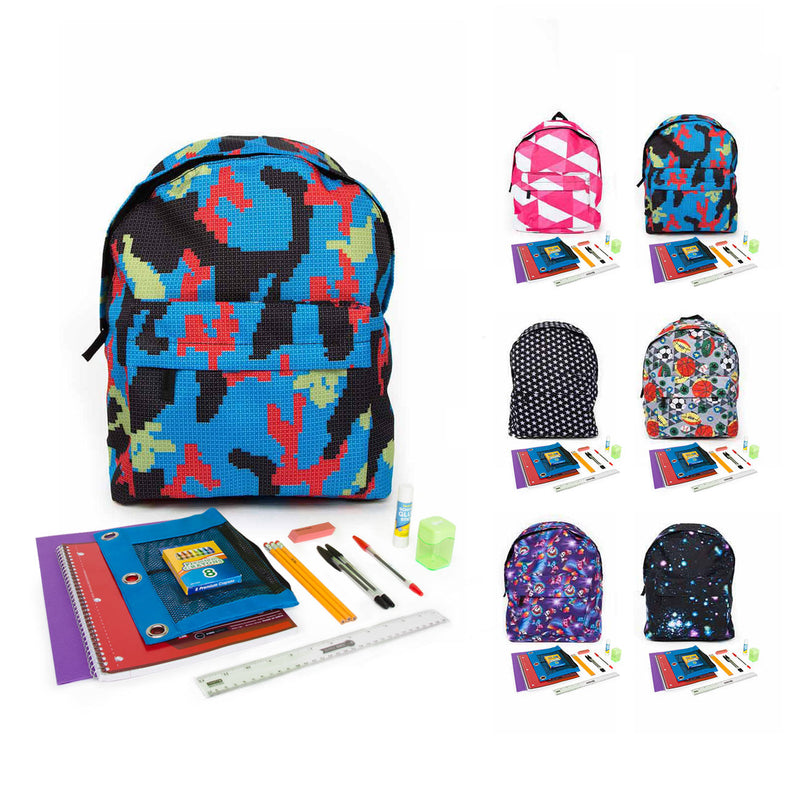Bulk PreK-5th Student Kit in 15 inch Patterned Economy Backpack