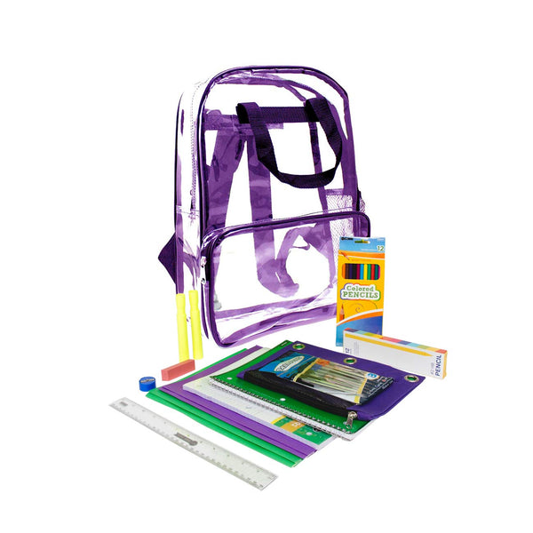 "6th-12th Student Kit (42 Piece) in 18"" Clear Backpacks"