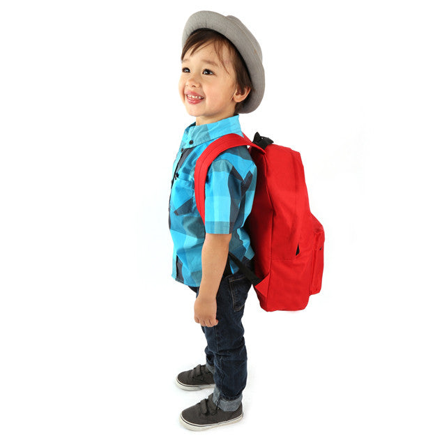 Youth Wholesale Red 15 inch Economy Backpacks Sold in Bulk