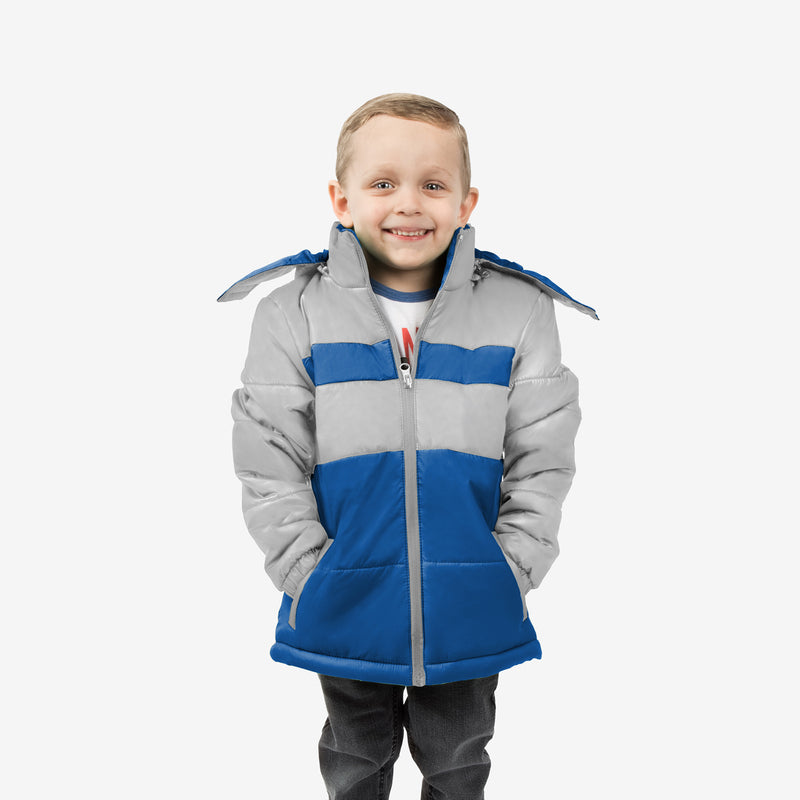 Midnight Combo Wholesale Boy Puffer Coat in Cloudy Skies Sold in Bulk