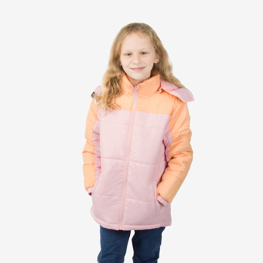 Blush Combo Wholesale Girl Puffer Coat in Bubblegum Sold in Bulk