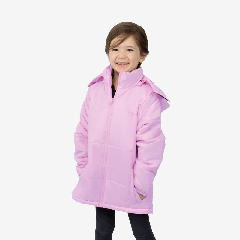 Flamingo Combo Wholesale Girl Puffer Light Purple Coats Sold in Bulk