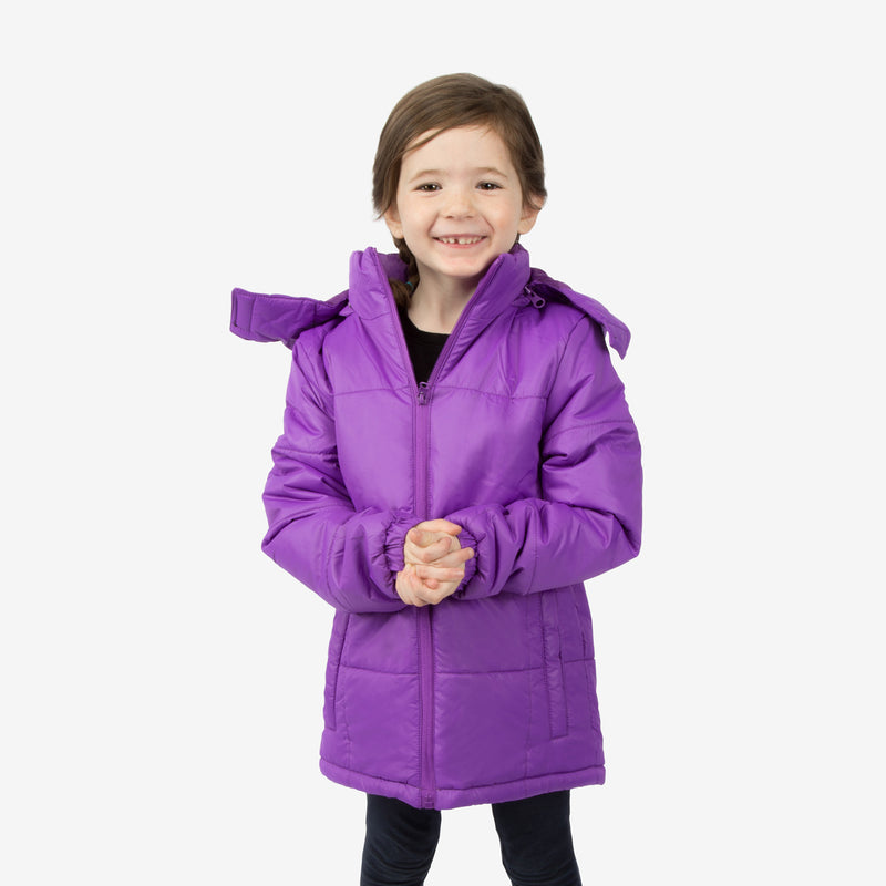 Flamingo Combo Wholesale Girl Puffer Purple Coats Sold in Bulk