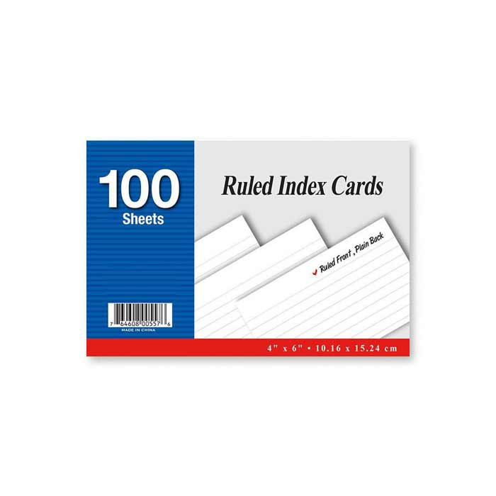 White Ruled Index Cards