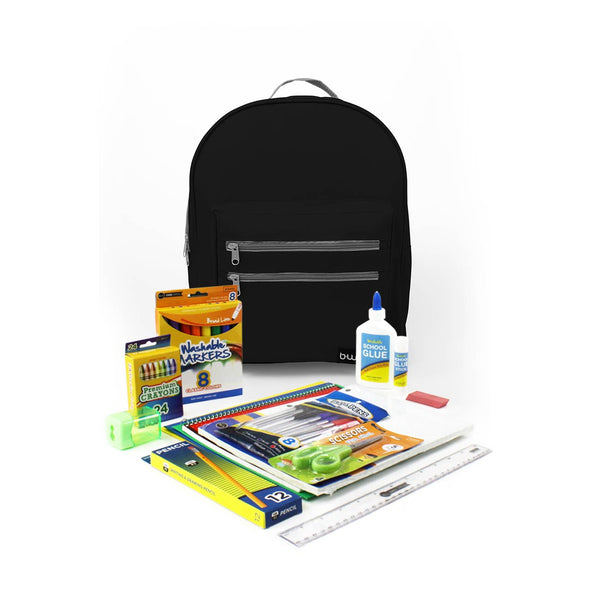 Midnight Black 16 Inch Classic Elementary Backpack with Bulk School Supply Kit