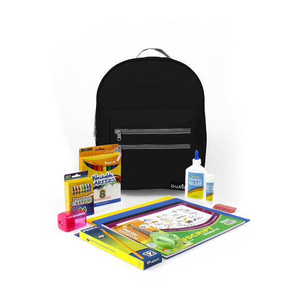 Midnight Black 16 Inch Classic Backpacks with Bulk Headstart School Supply Kits