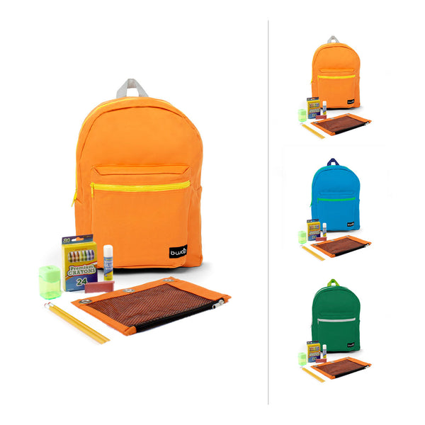 Combo 1 Standard Backpacks with Bulk School Supply Kits