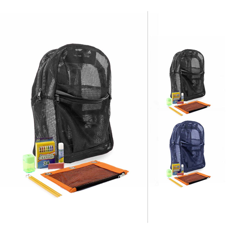 Mesh Combo 2 Backpacks with Bulk School Supply Kits
