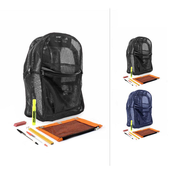 Mesh Combo 2 18 Inch Backpacks with Bulk School Supply Kits
