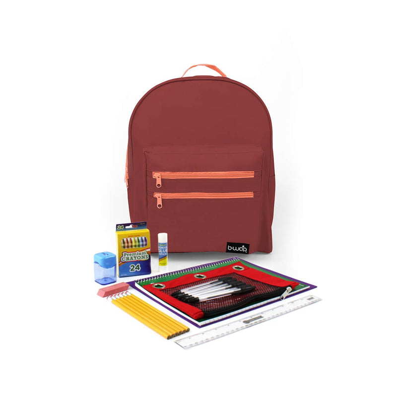 Cranberry Classic Backpacks with Starter School Supply Kits Sold in Bulk