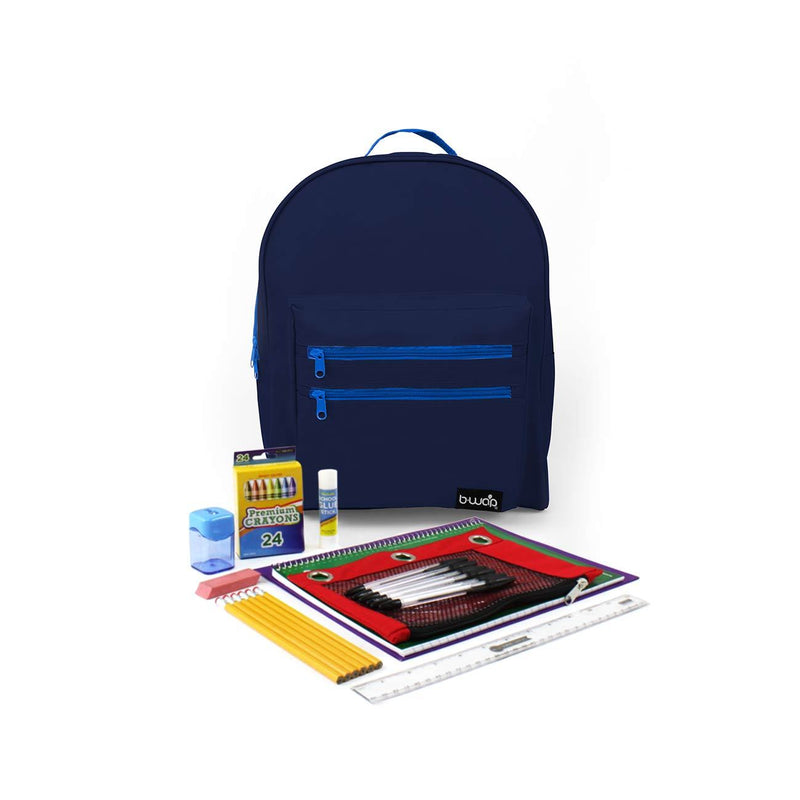 Deep Sea Blue Classic Backpacks with Starter School Supply Kits Sold in Bulk