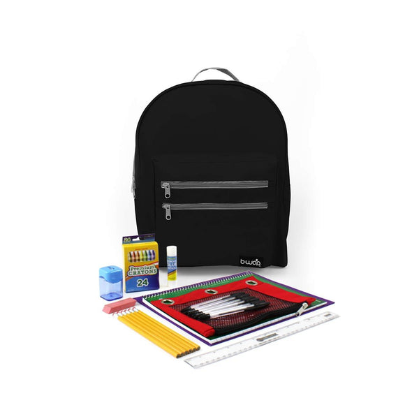 Midnight Black Classic Backpacks with Starter School Supply Kits Sold in Bulk