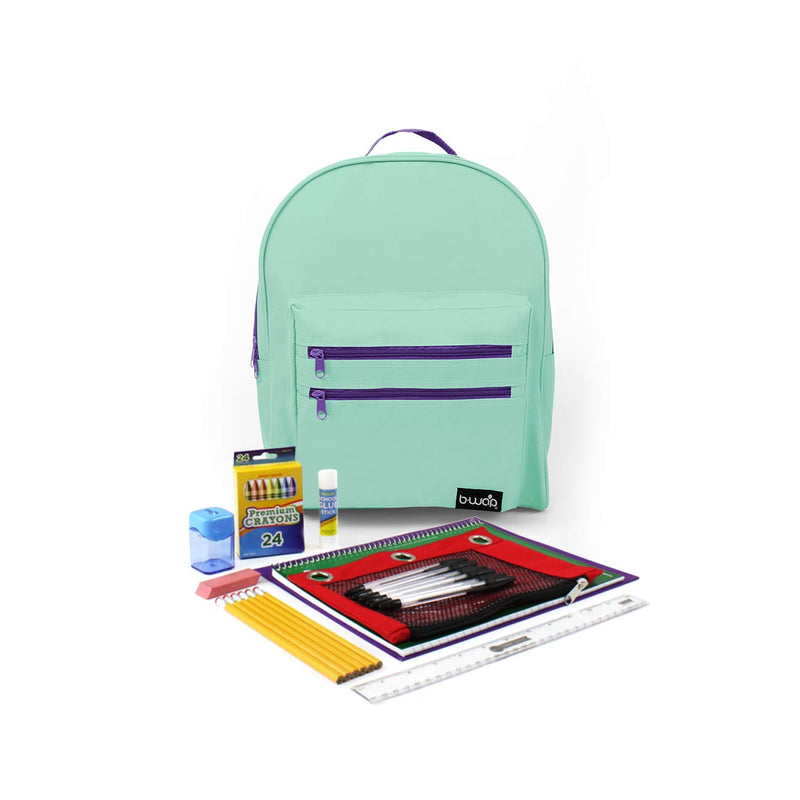Mint Berry Classic Backpacks with Starter School Supply Kits Sold in Bulk