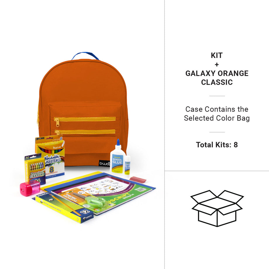 Galaxy Orange 16 Inch Classic Backpacks with Bulk Headstart School Supply Kits
