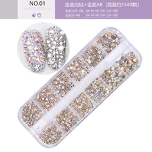Load image into Gallery viewer, 12 Grid Rhinestone Glitter Nail Art Decoration