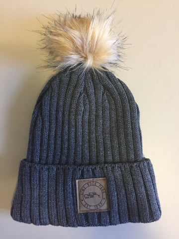 Knit Hat with Fur Pom Pom