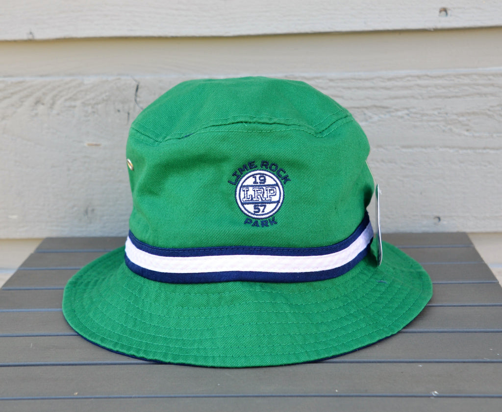 cotton twill bucket, green with navy