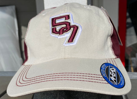57 Maroon and White hat