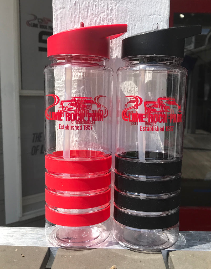 Plastic Water Bottle, striped (red or black)