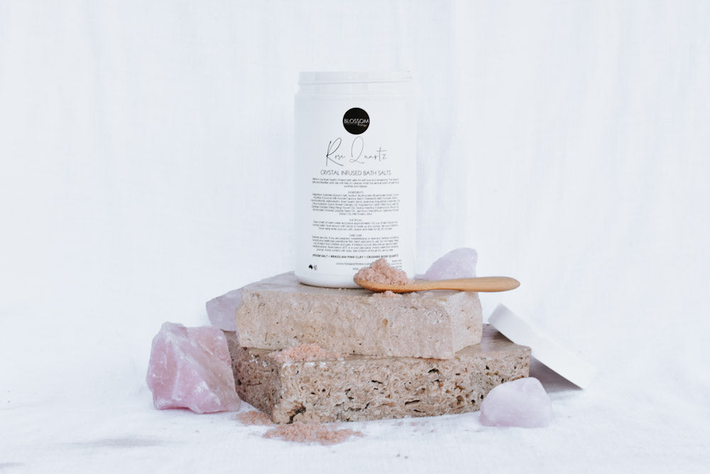 Rose Quartz Crystal Infused Bath Salts