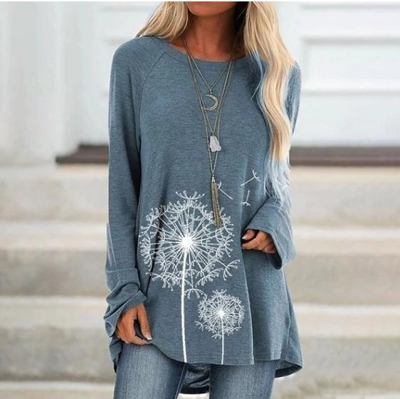 Long Round Neck Print Long Sleeve Loose T-shirt