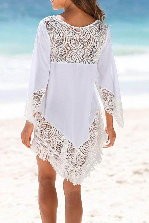 Solid Color Lace Beachwear